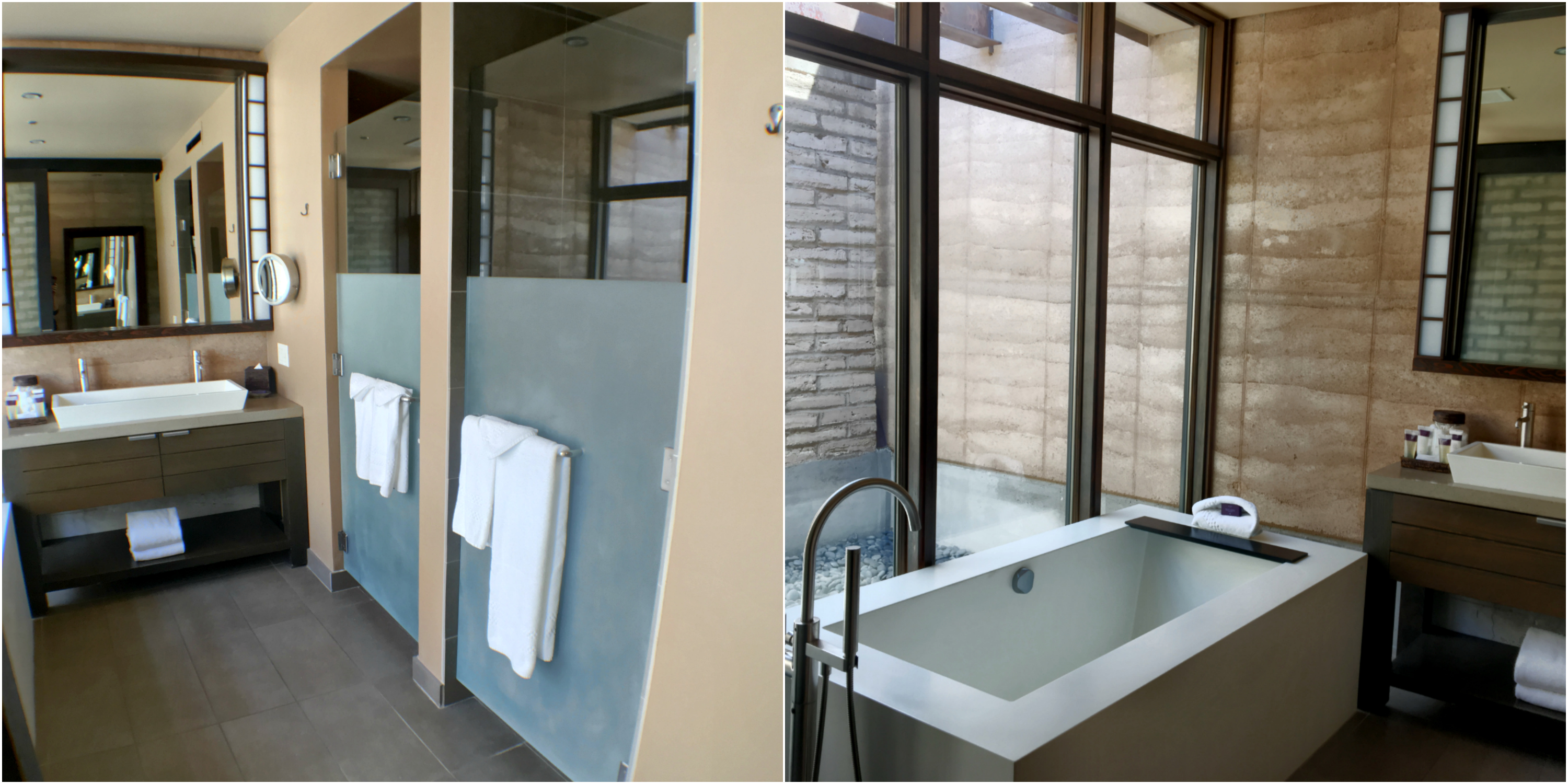 Spacious master bath with an indoor and outdoor shower, plus deep soaking tub!