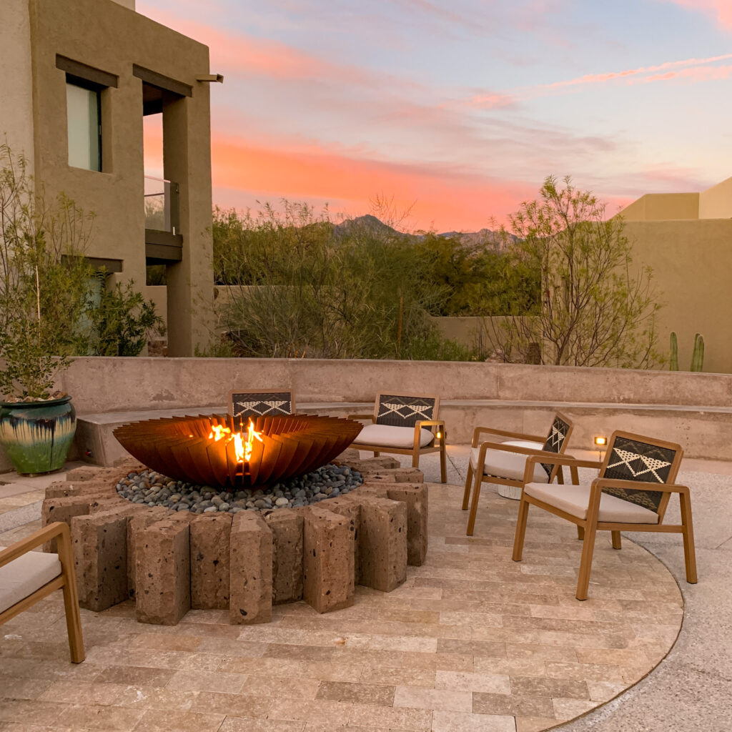 Canyon Ranch Tucson Reserve Fire Pit at Sunset